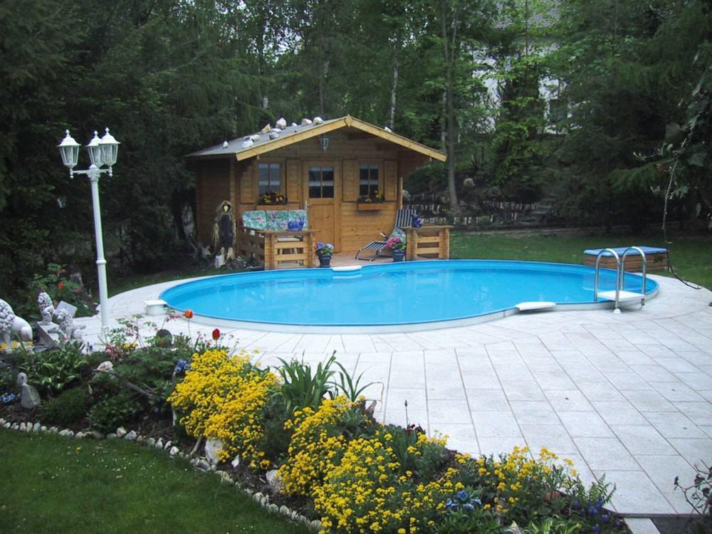 Achtformbecken family mit eloxiertem aluhandlauf folie blau for Pool aufstellbar