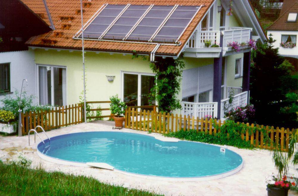 Achtformbecken family mit eloxiertem aluhandlauf folie blau - Pool aufstellbar ...