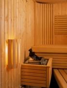Sauna-Wandlampe mit Holzschirm
