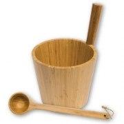 Sauna-Kübel Bambus mit passender Kelle