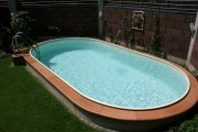Ovalschwimmbecken SWIM mit eloxiertem Aluhandlauf, Folie sand