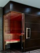 Elementsauna Excellent, Innenverkleidung Hemlock, Tiefe 258 cm
