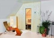 Elementsauna Perfekt, Tiefe 194 cm, Innenverkleidung Hemlock