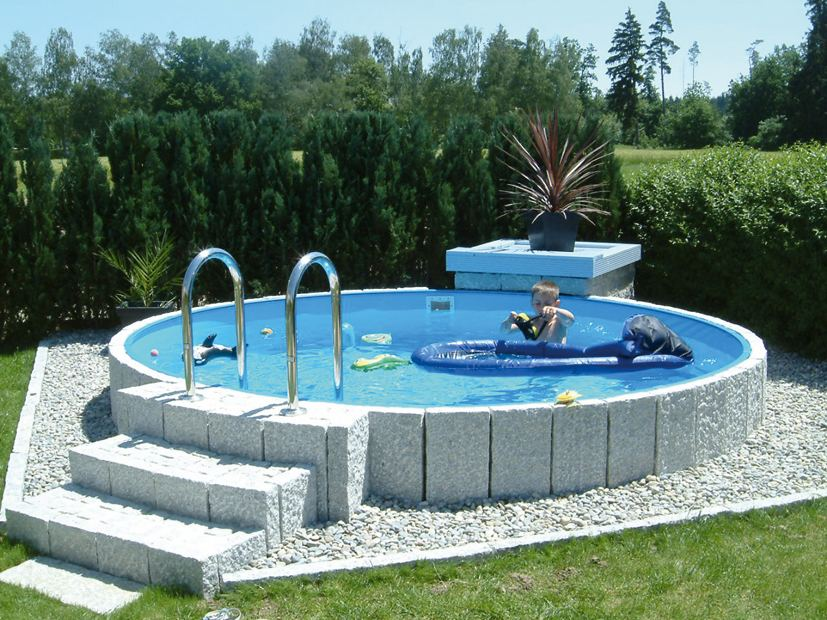 Rundbecken fun von future pool als komplett set mit for Swimmingpool verkleidung