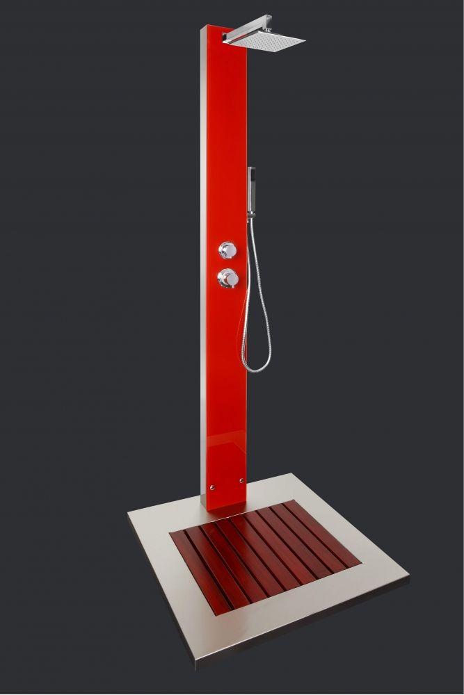 Gartendusche saba elegantes rot als blickfang f r den garten for Gartendusche bodenplatte